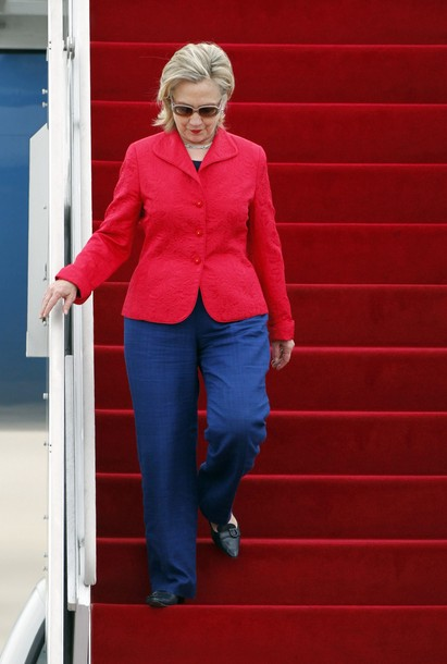 U.S. Secretary of State Clinton arrives at a military airport in Seongnam
