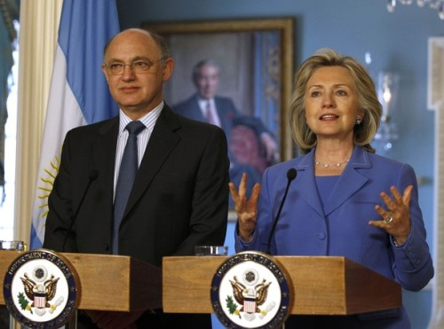 U.S. Secretary of State Hillary Clinton welcomes Argentina's Foreign Minister Hector Timerman to the U.S. State Department in Washington