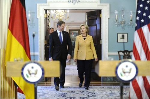 Clinton arrives for a news conference with Westerwelle at the State Department in Washington