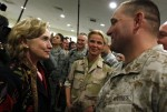 U.S. State Secretary Hillary Clinton meets with International troops at Kabulairport