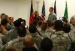 U.S. State Secretary Hillary Clinton during a meet and greet with International troops at Kabul airport