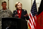 U.S. State Secretary Hillary Clinton speaks during a news conference at the U.S. embassy in Kabul