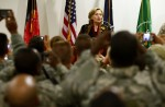 U.S. State Secretary Hillary Clinton speaks during a meeting with International troops at Kabul airport