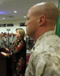 U.S. State Secretary Hillary Clinton speaks during a meeting with International troops at Kabul airport before her departure from Afghanistan