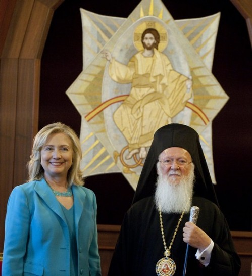 Ecumenical Patriarch Bartholomew (R) and