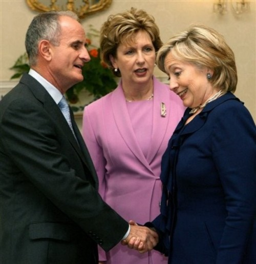 US Secretary of State Hillary Rodham Clinton, right, is greeted by Ireland's President Mary McAleese and her husband Martin at Aras an Uachtarain in Dublin, Ireland as part of her five day tour of Europe Sunday Oct. 11, 2009. (AP Photo/Niall Carson/PA Wire) ** UNITED KINGDOM OUT NO SALES NO ARCHIVE **